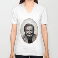 robin williams V-neck T-shirts featuring Robin williams by MK-illustration