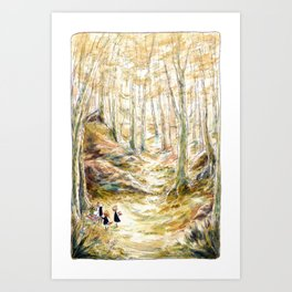 Into the Woods - Parsley Merlin and Beatrice Page Art Print