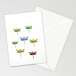 Dragonfly illustrated flying insect Stationery Cards