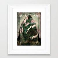 shark Framed Art Prints featuring Shark by Alex Tobler