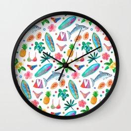 Dotty Summer Beach Pattern Wall Clock
