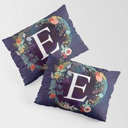 Personalized Monogram Initial Letter E Floral Wreath Artwork Pillow Sham