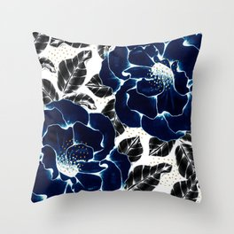 Blue large flowers Throw Pillow