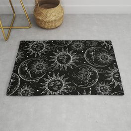Black Magic Celestial Sun Moon Stars Rug