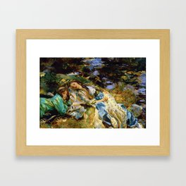 1907 Classical Masterpiece 'The Brook' by John Singer Sargent Framed Art Print