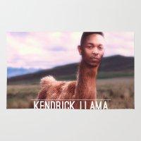 kendrick lamar Area & Throw Rugs featuring Kendrick Llama by Creatmaker
