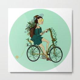 Girl with bicycle Pegas Metal Print