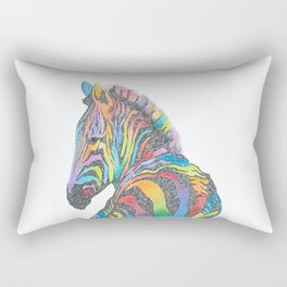 Rainbow Zebra Rectangular Pillow