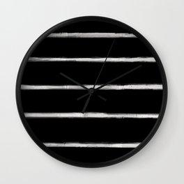 Skinny Strokes Gapped Horizontal Off White on Black Wall Clock