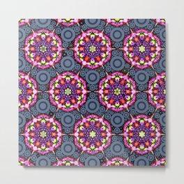 Floral Patterns and Gray Circles Metal Print