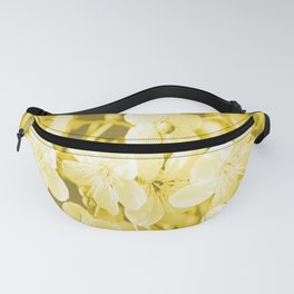 Cherry Branches White Flowers Background Golden Yellow Color #decor #society6 #buyart Fanny Pack