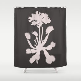 Cream Color Venus Flytrap Flower On Charcoal Shower Curtain