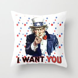 Uncle Sam I Want You With Star Pattern Background Throw Pillow