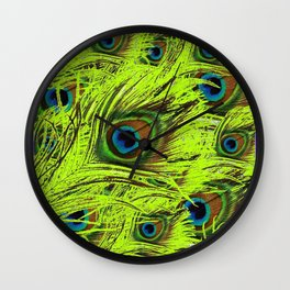 PURPLE ART NOUVEAU GREEN PEACOCK FEATHERS ABSTRACT ART Wall Clock