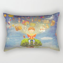 Little boy sitting on the tree and  reading a book, objects flying out Rectangular Pillow