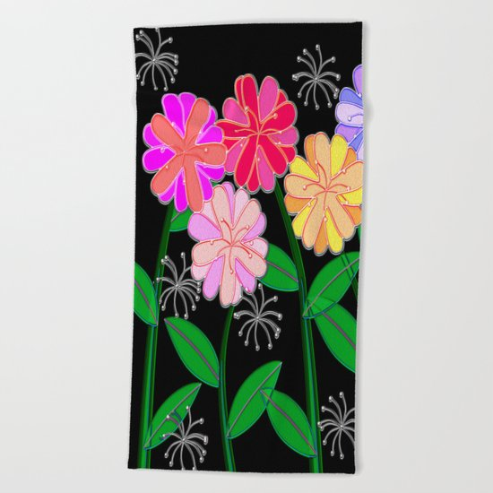 Plasticine Flowers with Dandelion Seed Beach Towel