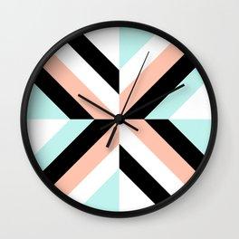 Coral Aqua Black Geometric Wall Clock