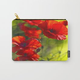Red Poppies on green background #decor #buyart #society6 Carry-All Pouch