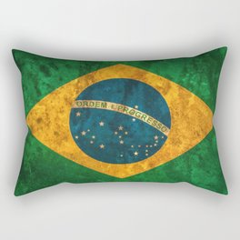 Brazil national flag background in grunge vintage style Rectangular Pillow