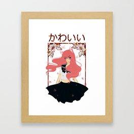 Kawaii Neko Anime Girl Framed Art Print