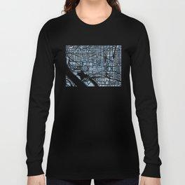 Washington DC Blueprint watercolor map Long Sleeve T-shirt