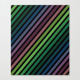 Dark Pixel strIpes Green Teal Blue Purple Mauve Canvas Print