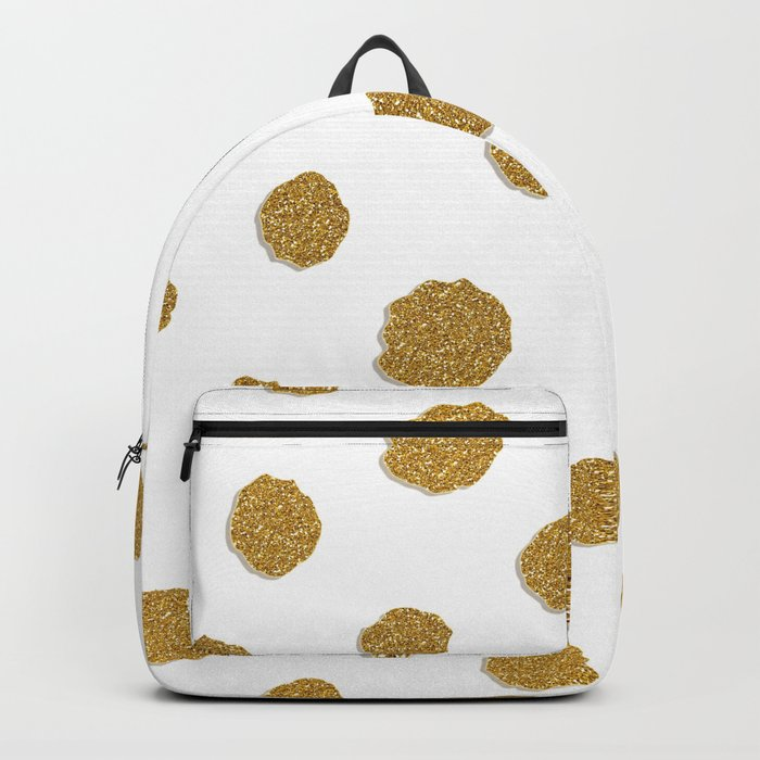 Golden touch III- Gold glitter effect polka dot pattern Backpack