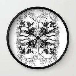Floral Skull (mirrored) Wall Clock