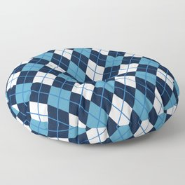 Blue White Argyle Floor Pillow