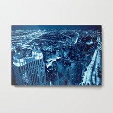 Chicago Nights Blue Metal Print