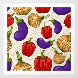 Cute vegetable pattern Art Print