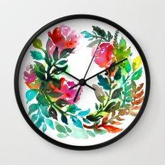 Rose Wreath Wall Clock