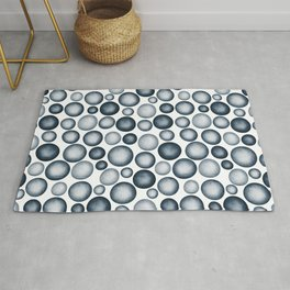 Dark Blue & Light Blue Gradient Circle Pebble Pairs To 2020 Color of the Year Chinese Porcelain Rug