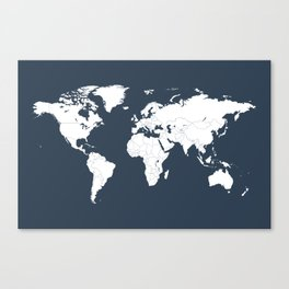 Minimalist World Map in Navy Blue Canvas Print
