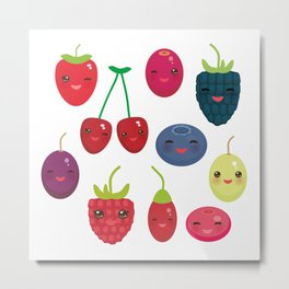 Kawaii Cherry Strawberry Raspberry Blackberry Blueberry Cranberry Cowberry Goji Grape Metal Print