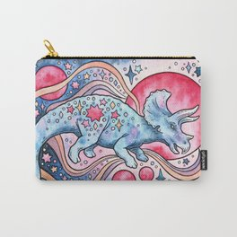 Star Tricera | Cosmic Dinosaur Watercolor Carry-All Pouch