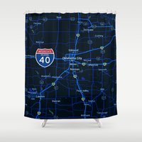 oklahoma Shower Curtains featuring oklahoma map by Larsson Stevensem