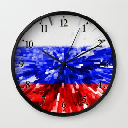 Extruded Flag of Russia Wall Clock