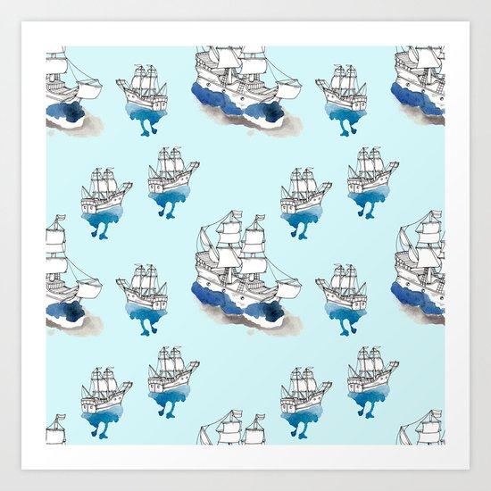 Ships Pattern Art Print