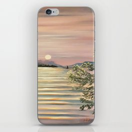 Sunset over a lake iPhone Skin