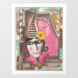 Pink whimsical woman Art Print