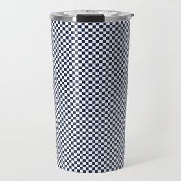 Dark Sargasso Blue and White Mini Check 2018 Color Trends Travel Mug