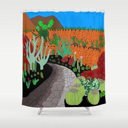 The Cactus Garden, Lanzarote, Canary Islands, Spain Shower Curtain