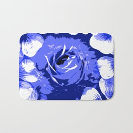 Roses Blue and White Toil #1 Bath Mat