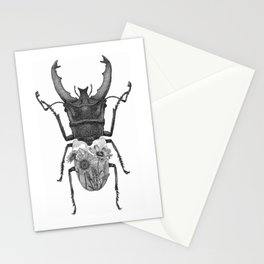 Stag Beetle with Mountain Scene Stationery Cards