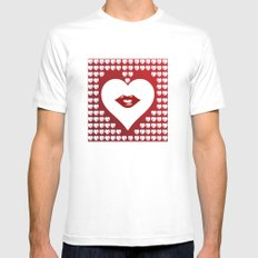 Loving Hearts and Lips White MEDIUM Mens Fitted Tee