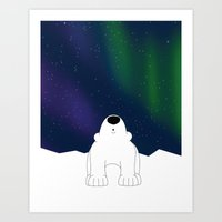 northern lights Art Prints featuring Northern Lights by The Animal Kingdom
