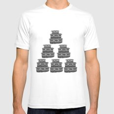 Cake and Flowers MEDIUM White Mens Fitted Tee