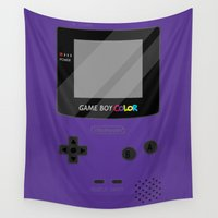 gameboy Wall Tapestries featuring Gameboy Color - Purple by katy-makes-things