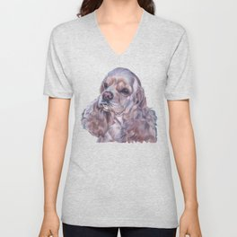American Cocker Spaniel dog art portrait from an original painting by L.A.Shepard Unisex V-Neck